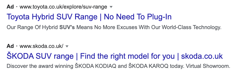 """Example of """"suv range"""" keyword in first heading"""