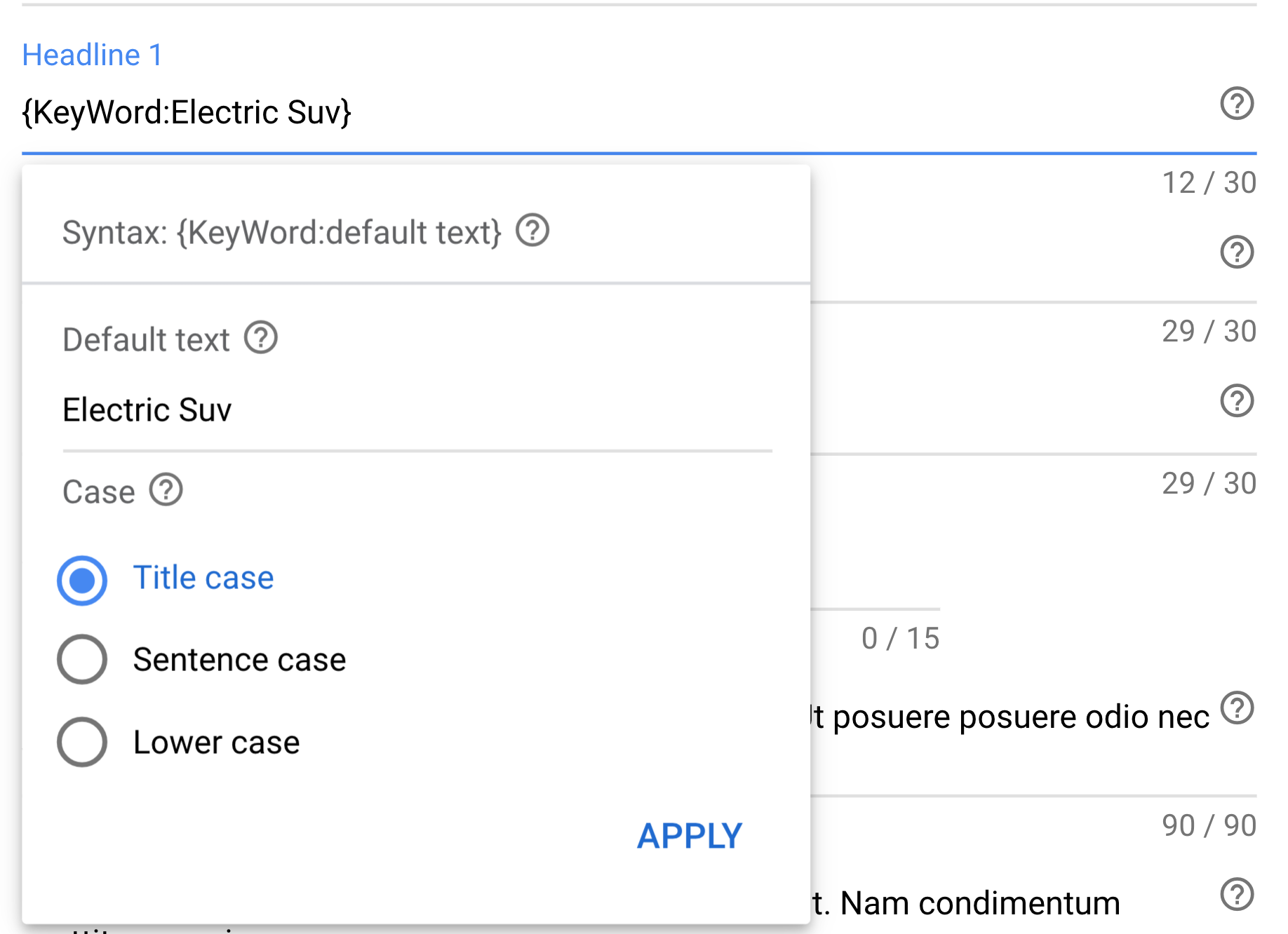 keyword insertion in Google Ads