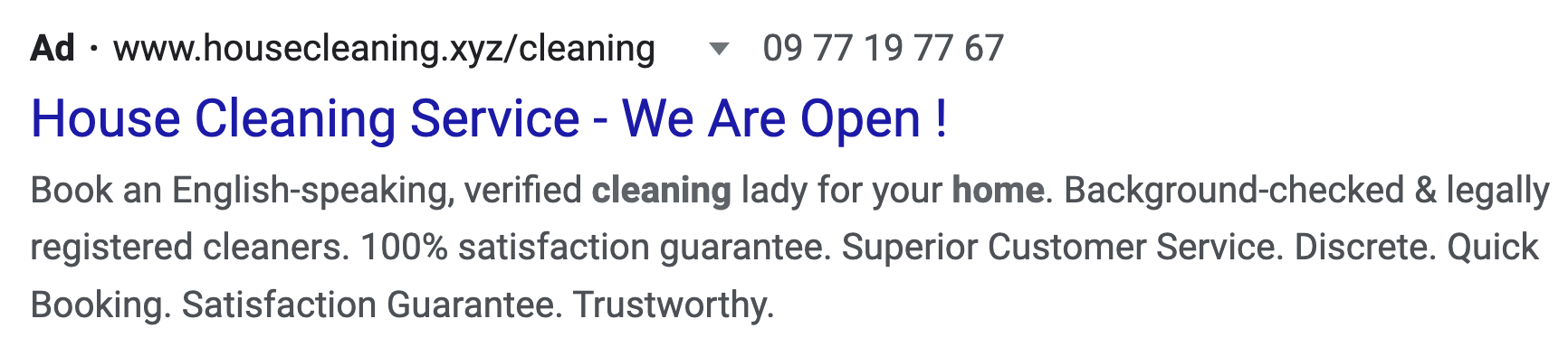 Example of ad messaging callout: we are open