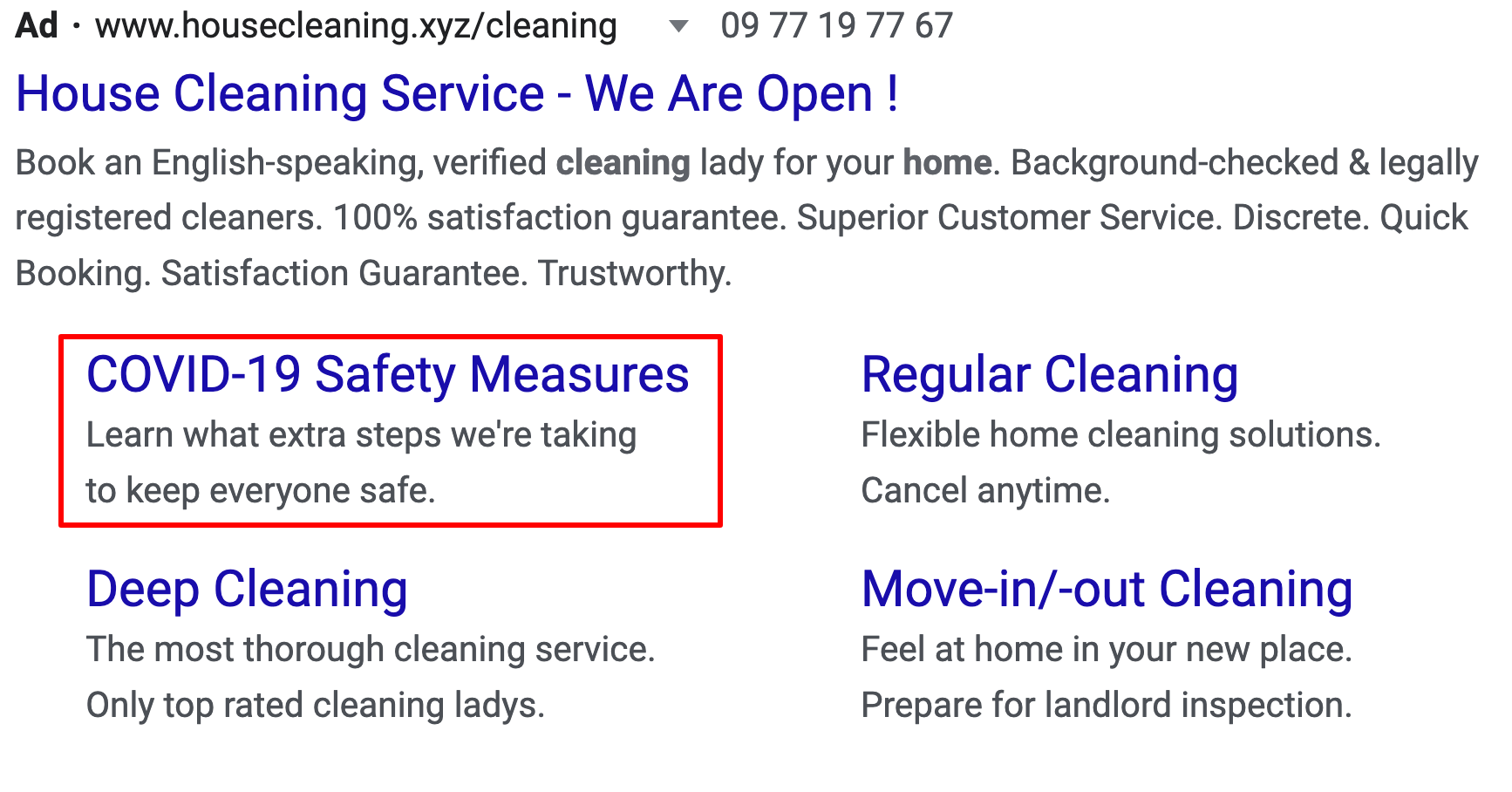Google Ads Extensions pushing Covid-19 safety mesures