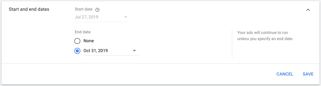 Search campaign with end date may make Google ads not showing