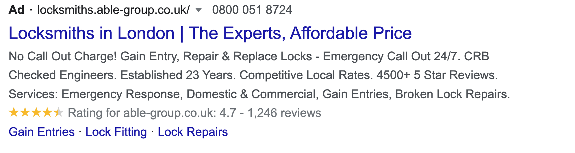 Example of neutral search ads copy