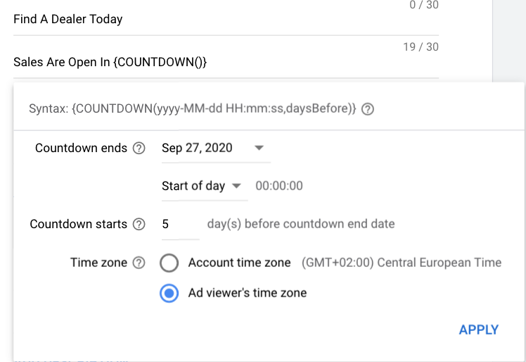 Countdown Customisers in Responsive Search Ads